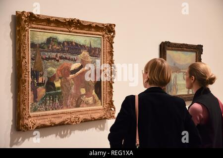 London, UK. 21st January 2019. View from Uhlenhorst Ferry House on the Outer Aister Lake with St Johannis.Fete sur l'Eau 1913.Oil on canvas.Pierre Bonnard Exhibition,'The Colour of Memory' opening from 23 Jan to 6 May 2019.Tate Modern, London.UK Credit: michael melia/Alamy Live News - Stock Photo