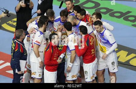 firo: 21.01.2019, Handball: World Cup World Cup Main Round Brazil- Spain Timeout Spain | usage worldwide - Stock Photo