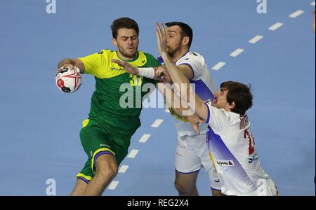 firo: 21.01.2019, Handball: World Cup World Cup Main Round Brazil- Spain duels Haniel Langaro (BRA) | usage worldwide - Stock Photo