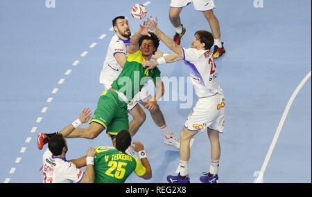 firo: 21.01.2019, Handball: World Cup World Cup Main Round Brazil- Spain duels Santos | usage worldwide - Stock Photo