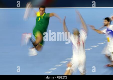 firo: 21.01.2019, Handball: World Cup World Cup Main Round Brazil-Spain Feature, blurred, general, depositors, background | usage worldwide - Stock Photo
