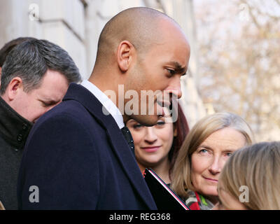 London, UK. 21th January 2019. Labour MP's Chuka Umunna and Luciana Berger , and Conservative Mp Sarah Wollaston (left) together with other MP's on the steps of Cabinet Office, Whitehall London, today, after talks with a cross-party group of MP's demanding a new referendum. Credit: Joekuis / Alamy Live News - Stock Photo