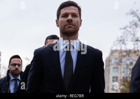 Madrid, Spain. 22nd Jan, 2019. Xabi Aloson entry to the court.The Provincial Court of Madrid judges Cristiano Ronaldo and Xabi Alonso for allegedly defrauding the Treasury in two trials in which the Prosecutor's Office requests two and five years in prison, respectively, and the payment of millions in fines. Credit: Jesús Hellin/Alamy Live News - Stock Photo
