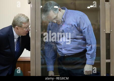 MOSCOW, RUSSIA - JANUARY 22, 2019: US national Paul Whelan, 48, (R) listens to his lawyer during a bail hearing at the Moscow City Court (Court of Moscow) following his arrest on charges of spying against Russia; Paul Whelan, a retired United States Army officer who also holds citizenships of Canada, the United Kingdom, and Ireland, was detained in Moscow on 28 December 2018, on suspicion of espionage; on 29 December 2018, Moscow's Lefortovo Court ruled that Whelan remain in custody till 28 February 2019; according to Whelan's relatives he arrived in Russia on invitation for a friend's wedding - Stock Photo