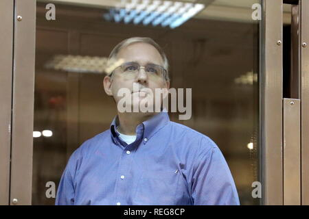 MOSCOW, RUSSIA - JANUARY 22, 2019: US national Paul Whelan, 48, appears for a bail hearing at the Moscow City Court (Court of Moscow) following his arrest on charges of spying against Russia; Paul Whelan, a retired United States Army officer who also holds citizenships of Canada, the United Kingdom, and Ireland, was detained in Moscow on 28 December 2018, on suspicion of espionage; on 29 December 2018, Moscow's Lefortovo Court ruled that Whelan remain in custody till 28 February 2019; according to Whelan's relatives he arrived in Russia on invitation for a friend's wedding; the Moscow City Cou - Stock Photo