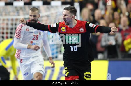 firo: 21.01.2019, Handball: World Cup World Cup Main Round Croatia Croatia - Germany 21:22 jubilation, Fabian Wiede, GER | usage worldwide - Stock Photo