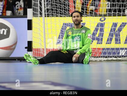 firo: 21.01.2019, Handball: World Cup World Cup Main Round Germany - Croatia Croatia Ground, disentangles, gesture, Silvio Heinevetter | usage worldwide - Stock Photo