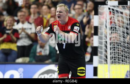 firo: 21.01.2019, Handball: World Cup World Cup Main Round Croatia Croatia - Germany 21:22 GEstik, jubilation, Patrick Wiencek | usage worldwide - Stock Photo