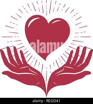 Heart in hands, logo. Love, charity label or symbol. Vector illustration - Stock Photo
