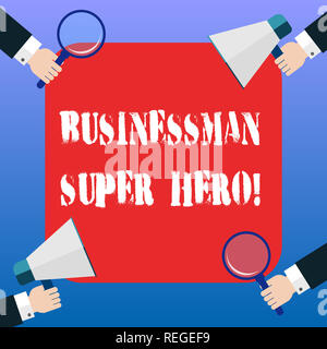Handwriting text Businessanalysis Super Hero. Concept meaning assumes the risk of a business or enterprise Hu analysis Hands Each Holding Magnifying G - Stock Photo
