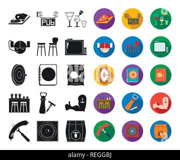 Pub, interior and equipment black,flat icons in set collection for design. Alcohol and food vector symbol stock  illustration. - Stock Photo