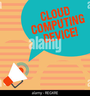 Word writing text Cloud Computing Device. Business concept for Shared pools of configurable computer system resource Megaphone with Sound Volume Icon  - Stock Photo