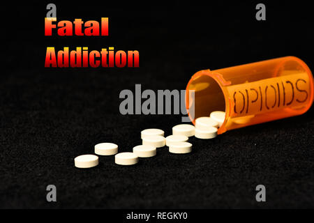 Symbols of opioid abuse and  consequences. - Stock Photo