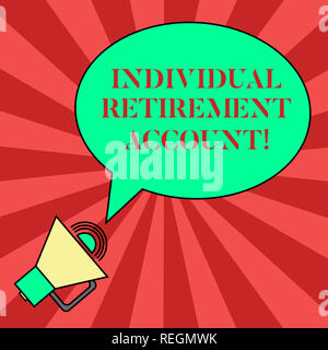 Handwriting text writing Individual Retirement Account. Concept meaning Invest and earmark funds for retirement Blank Oval Outlined Speech Bubble Text - Stock Photo