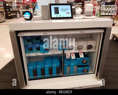 Close-up of display of multiple Amazon Echo and Amazon Alexa smart speaker devices from Amazon and Google Inc, part of smart home offerings at a retailer in San Ramon, California, November 28, 2018. ()