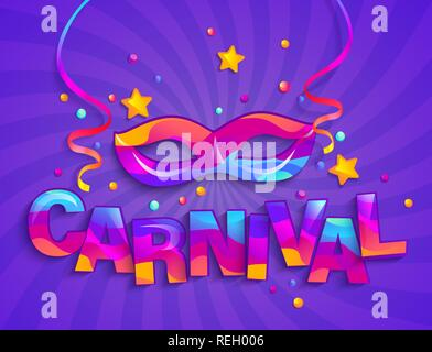 Colorful Mask for carnival festive on sunburst background. Traditional masque for carnaval, fesival,masquerade,parade.Template for design invitation card,flyer poster,banners. Vector illustration - Stock Photo