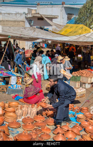 Oued Laou, Chefchaouen, Morocco - November 3, 2018: Sale of traditional ceramics in the typical market that is installed on Saturdays in the souk - Stock Photo