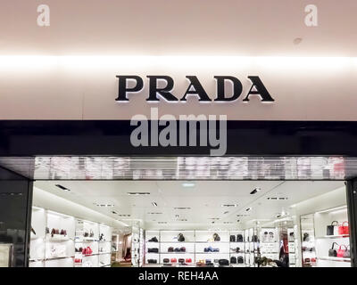 PARIS, FRANCE - NOVEMBER Circa, 2018. Prada front store at the Paris Charles de Gaulle Airport. Luxury fashion italian brand wellknown all over the wo - Stock Photo