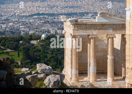 Europe Greece Athens Athena Acropolis part of the propylaea, propylea or propylaia gate of the Acropolis - Stock Photo
