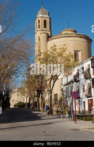 Ubeda, Spain - January 7, 2013: Street leading to Sacra Capilla del Salvador, the Chapel of the Savior. Built in 16th century, the temple is one of th - Stock Photo