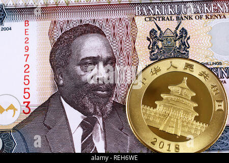 A close up image of a shiny gold Chinese Panda coin with a fifty shilling bank note from Kenya. - Stock Photo