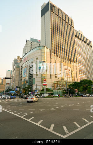 SEOUL, SOUTH KOREA - CIRCA MAY, 2017: Seoul urban landscape. Seoul Special City is the capital and largest metropolis of the Republic of Korea. - Stock Photo