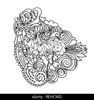Mono color black line art element for adult coloring book page design.Floral collection. Ethnic doodle ornament - Stock Photo