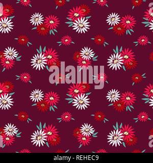 Flowers hand drawn seamless pattern - Stock Photo