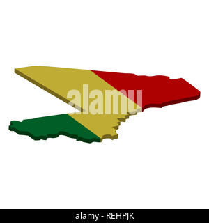Flag and map of Mali. Color silhouette of 3D map of Mali  illustration - Stock Photo