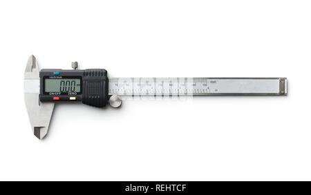 Digital and manual vernier caliper isolated on white background. - Stock Photo