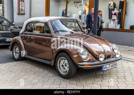 GERMANY, LIMBURG - APR 2017: brown VW VOLKSWAGEN BEETLE TYPE 1 1302 1971 in Limburg an der Lahn, Hesse, Germany. - Stock Photo