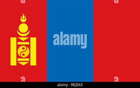 Mongolia Flag - Stock Photo