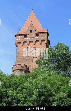 The Lookout tower of the castle complex in Tangermünde in Germany - Stock Photo