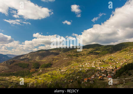 small bulgarian village Borovo in the mountain - Stock Photo