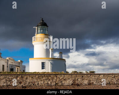 Lighthouse at Chanonry Point on Moray Firth, Scotland - Stock Photo