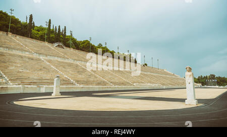 Detail from Panathenaic Stadium, a multi-purpose historic stadium in Athens, Greece. It is the only stadium in the world built entirely of marble. - Stock Photo