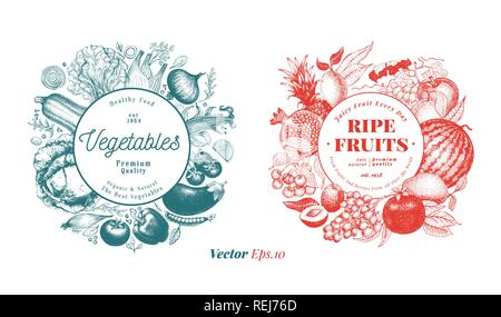 Two natural designs set. Fruits, berries and vegetables illustrations. Vintage engraved style frame templates. Can be use for menu, label, packaging,  - Stock Photo