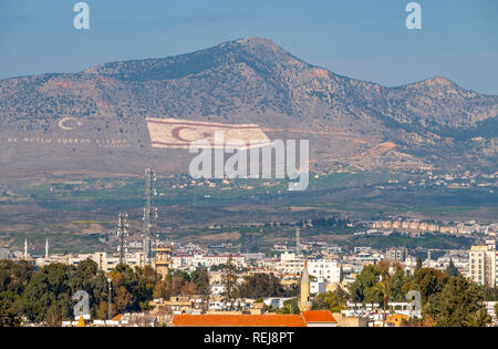 A giant flag marked on the slopes of the south side of Kyrenian mountains facing Nicosia and the Republic of Cyprus - Stock Photo
