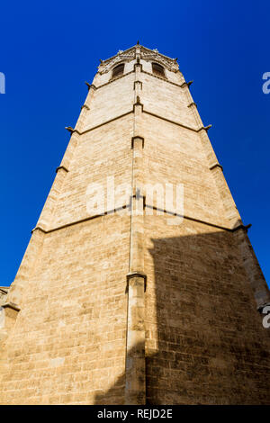 The belfry, known as Micalet, of the Saint Mary's Cathedral or Valencia Cathedral in Valencia, Spain - Stock Photo