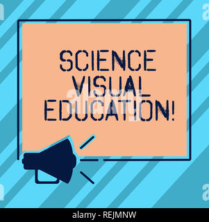 Text sign showing Science Visual Education. Conceptual photo Use infographic to understand ideas and concepts Megaphone Sound icon Outlines Blank Squa - Stock Photo