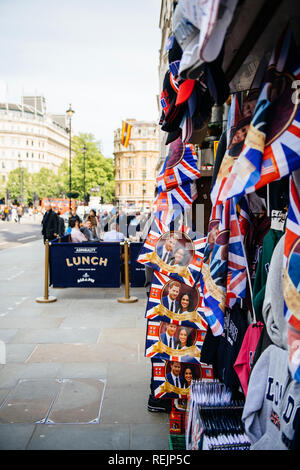 LONDON, UNITED KINGDOM - MAY 18, 2018: Street shop selling souvenir memorabilia royal wedding celebration a day before Windsor Castle Meghan Markle Prince Harry marriage - Stock Photo