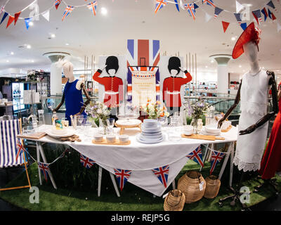 LONDON, UNITED KINGDOM - MAY 18, 2018: Congratulation message House of Fraser store to HRH Prince Harry of Wales KCVO and Ms Meghan Markle on Regent street for Royal Wedding - Stock Photo