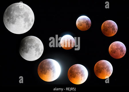 The story of the lunar eclipse with blood red moon 2019 - Stock Photo