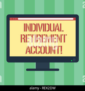 Handwriting text Individual Retirement Account. Concept meaning Invest and earmark funds for retirement Blank Computer Desktop Monitor Color Screen Mo - Stock Photo