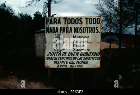 All For One and One For All is the best translation of a sign proclaiming the modern Zapatista movement in Oventic, Chiapas State, Mexico. - Stock Photo