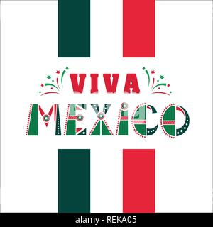 Viva Mexico, national mexican phrase holiday, typography vector illustration in flag colors, ornaments with fireworks. - Stock Photo