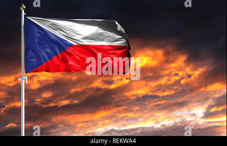 flag of Czech Republic on flagpole fluttering in the wind against a colorful sunset sky. - Stock Photo