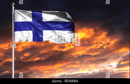 flag of Finland on flagpole fluttering in the wind against a colorful sunset sky. - Stock Photo