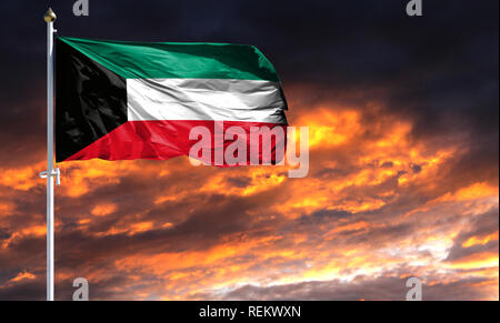 flag of Kuwait on flagpole fluttering in the wind against a colorful sunset sky. - Stock Photo