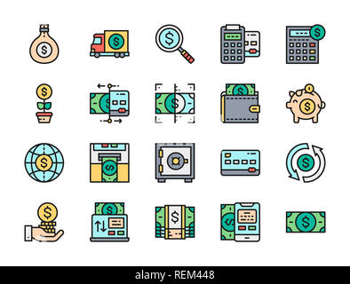 Set of money and banking flat color line icons. Credit card, dollar, online payments, currency exchange, invest, ATM, piggy bank, financial investment - Stock Photo
